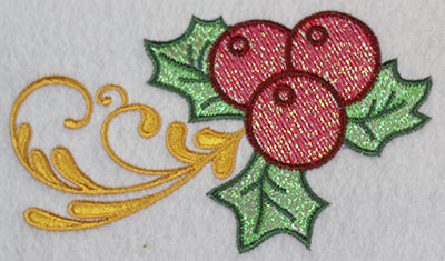 Embroidery Design: Mistletoe with swirls 2.99w X 5.15h
