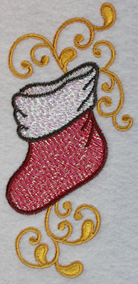 Embroidery Design: Christmas stocking with swirls 2.44w X 5.21h