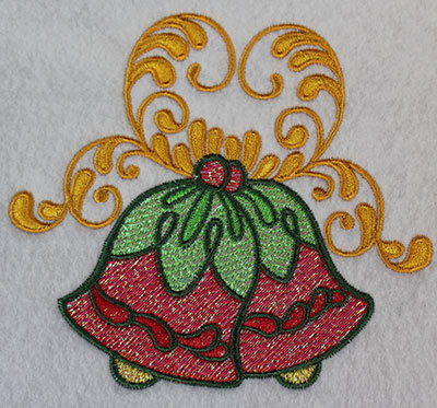 Embroidery Design: Christmas bells with swirls 5.22w X 4.67h