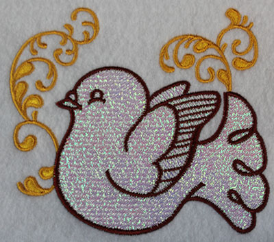 Embroidery Design: Christmas dove with swirls 4.78w X 4.21h