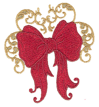 Embroidery Design: Christmas bow 3.39w X 3.81h