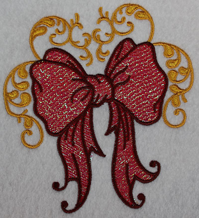 Embroidery Design: Christmas ribbon with swirls 4.57w X 5.13h