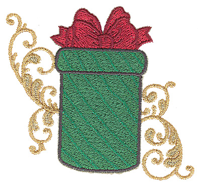Embroidery Design: Christmas gift box 3.81w X 3.40h