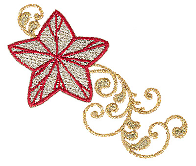 Embroidery Design: Christmas star 3.85w X 3.25h