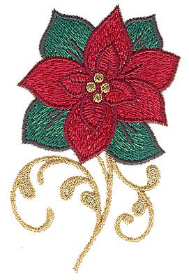 Embroidery Design: Poinsettia 2.44w X 3.88h
