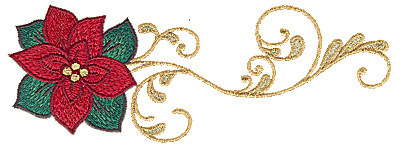 Embroidery Design: Poinsettia with swirls 6.85w X 2.50h