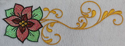 Embroidery Design: Christmas poinsetta with swirls 9.24w X 3.37h
