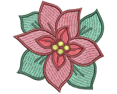 Embroidery Design: Christmas poinsetta 3.13w X 3.17h