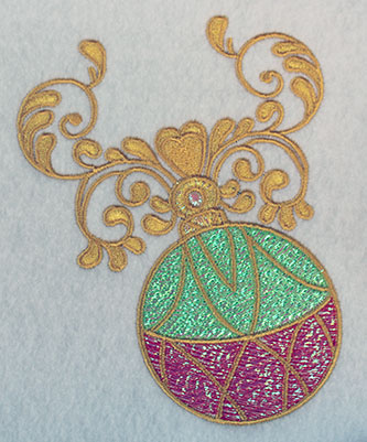 Embroidery Design: Christmas ornament with swirls 4.1w X 5.18h