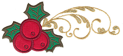 Embroidery Design: Holly with berries double applique 6.98w X 3.08h