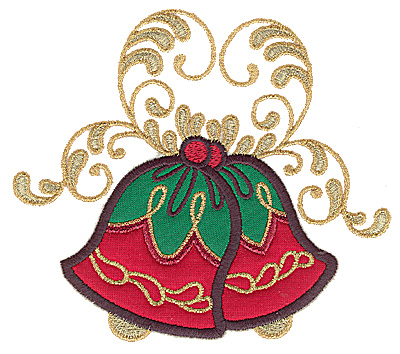 Embroidery Design: Christmas bells double applique 5.65w X 4.98h