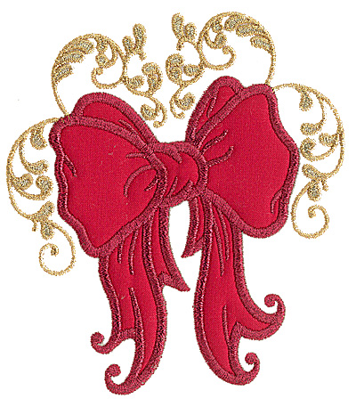 Embroidery Design: Christmas bow applique 5.70w X 4.98h