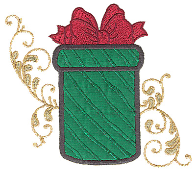 Embroidery Design: Christmas gift box applique 5.55w X 4.95h