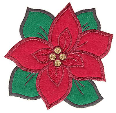 Embroidery Design: Poinsettia double applique 4.89w X 4.80h