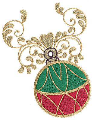 Embroidery Design: Christmas ornament double applique 6.25w X 4.93h