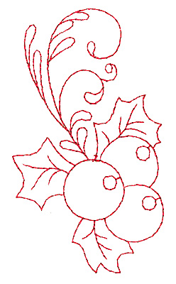 Embroidery Design: Holly with berries redwork 2.20w X 3.87h