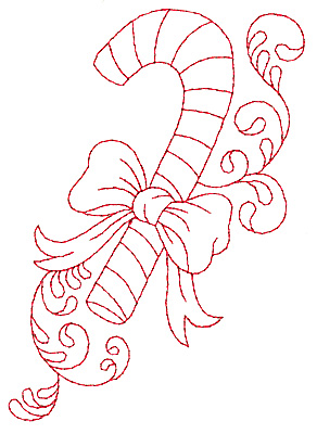 Embroidery Design: Candy cane redwork 3.44w X 4.92h