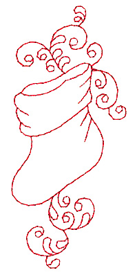Embroidery Design: Christmas stocking redwork 1.70w X 3.86h