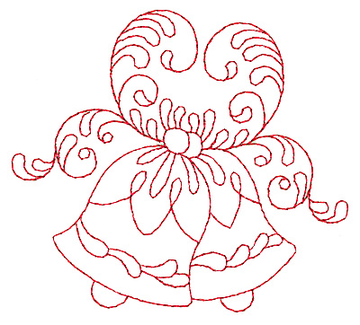 Embroidery Design: Christmas bells redwork 3.87w X 3.44h