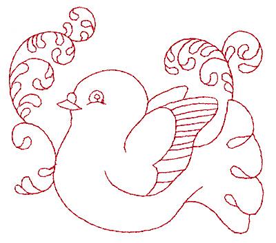 Embroidery Design: Dove redwork 3.83w X 3.37h