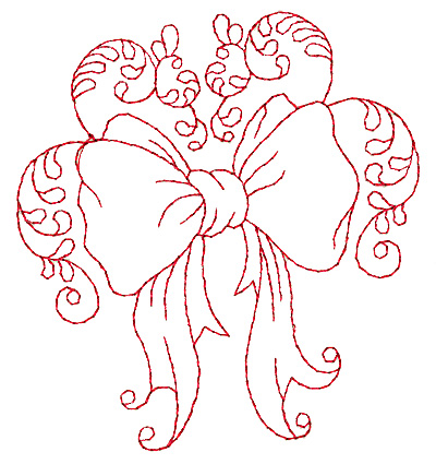 Embroidery Design: Christmas bow redwork 3.48w X 3.89h