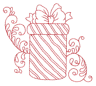 Embroidery Design: Christmas gift box redwork 3.87w X 3.38h