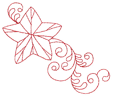 Embroidery Design: Christmas star redwork 3.86w X 3.25h