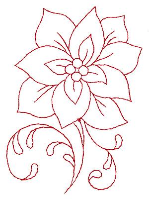 Embroidery Design: Poinsettia redwork 2.65w X 3.89h