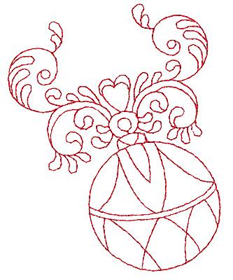 Embroidery Design: Christmas ornament redwork 3.05w X 3.88h