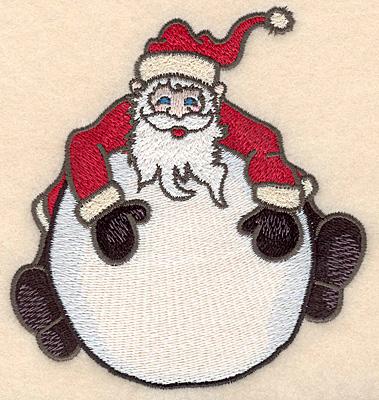 "Embroidery Design: Santa on globe large4.57""H x 4.40""W"