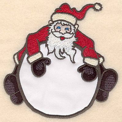 "Embroidery Design: Santa on globe applique4.98""H x 4.78""W"