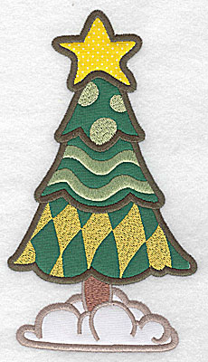 Embroidery Design: Christmas tree (3 appliques) 6.98w X 3.90h