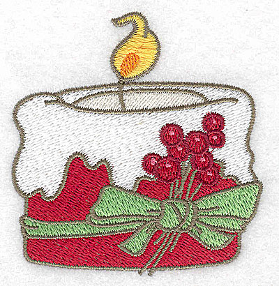 Embroidery Design: Christmas candle 2.96w X 3.11h