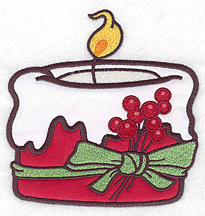 Embroidery Design: Christmas candle (2 appliques)4.82w X 4.99h