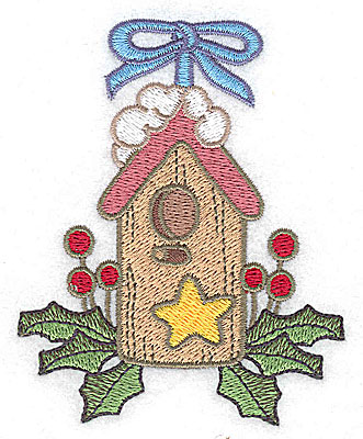 Embroidery Design: Christmas bird house small 3.09w X 3.82h