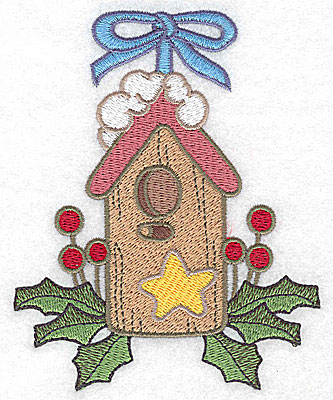 Embroidery Design: Christmas bird house large 3.98w X 4.94h