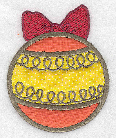 Embroidery Design: Christmas ornament with bow (2 appliques)2.95w X 3.68h