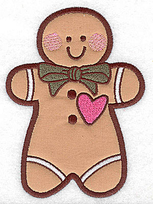 Embroidery Design: Gingerbread man applique 3.55w X 4.94h