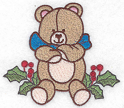 Embroidery Design: Teddy bear on holly small 3.56w X 3.16h