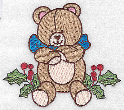 Embroidery Design: Teddy bear on holly large 4.62w X 4.11h