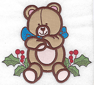 Embroidery Design: Teddy bear on holly (2 appliques) 5.53w X 4.99h