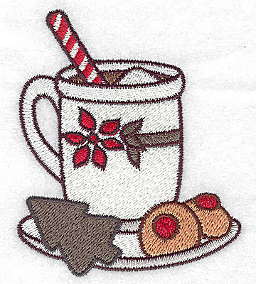 Embroidery Design: Hot cocoa with cookies small 2.95w X 3.52h