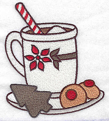 Embroidery Design: Hot cocoa with cookies large 3.83w X 4.57h