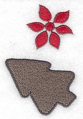 Embroidery Design: Poinsetta and christmas cookie1.88w X 3.00h