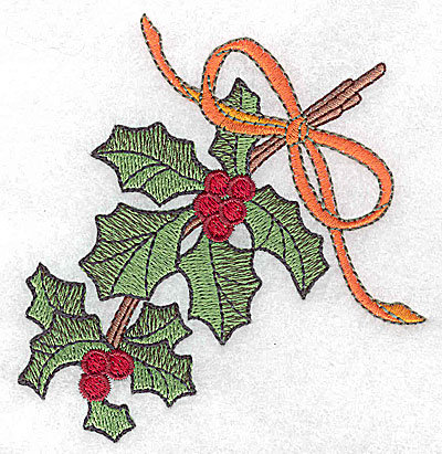 Embroidery Design: Holly berries and ribbon small 3.62w X 3.85h