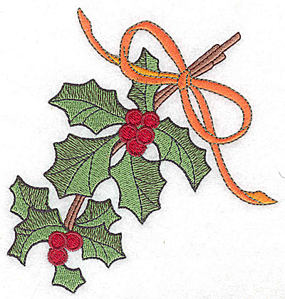 Embroidery Design: Holly berries and ribbon large 4.64w X 4.92h