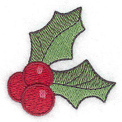 Embroidery Design: Holly and berries 2.11w X 2.11h