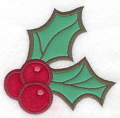 Embroidery Design: Holly and berries (2 appliques) 3.85w X 3.77h