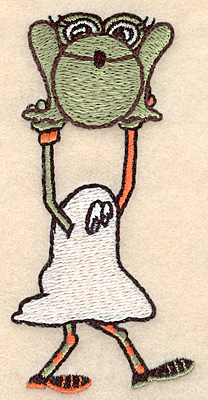 """Embroidery Design: Ghost with frog small 1.86""""w X 3.90""""h"""