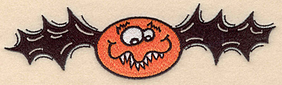 "Embroidery Design: Bat large 6.83""w X 1.91""h"